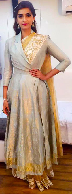 Sonam Kapoor wearing an angrakha over a saree