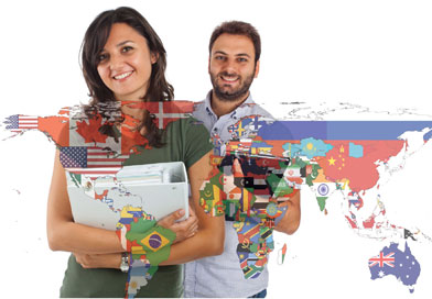 Students standing behind world map
