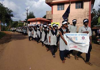 Students being led on a Blind Walk