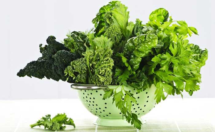Dark leafy greens in a bowl
