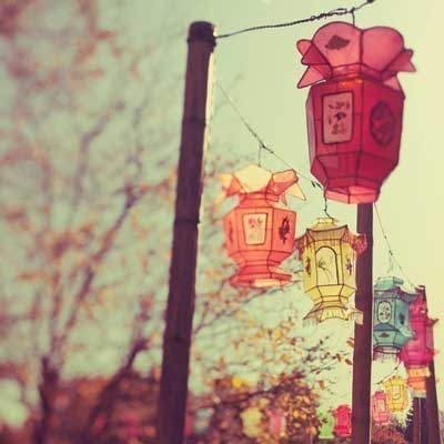 Chinese lanterns hanging on a street