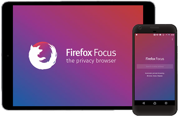 Firefox Focus on a tablet and smartphone