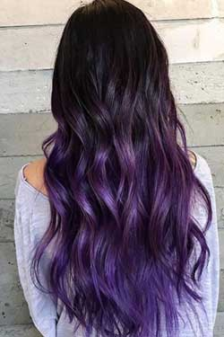Girl with hair coloured in ultra violet shade