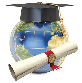 Graduation cap on a globe with scholarship scroll next to it