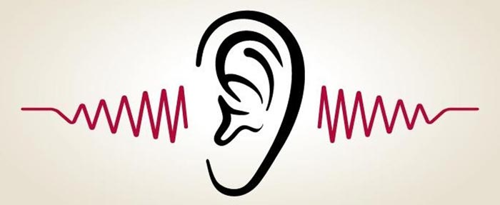 Illustration of ear giving off sound waves