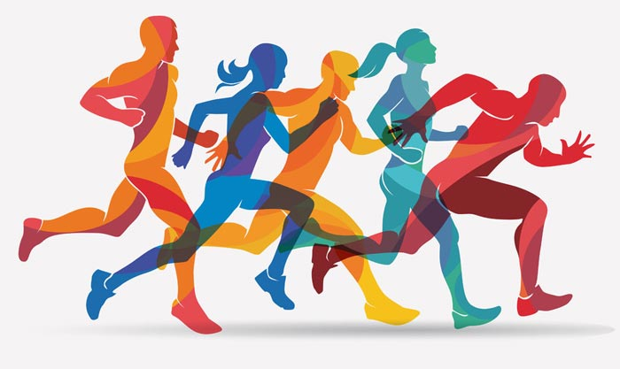 Illustration of people in different colours running