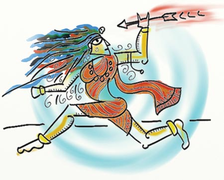 Illustration of Indian god playing a sport