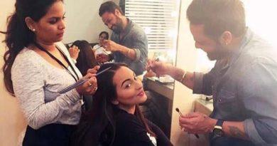 Make-up artists with actress Sonakshi Sinha