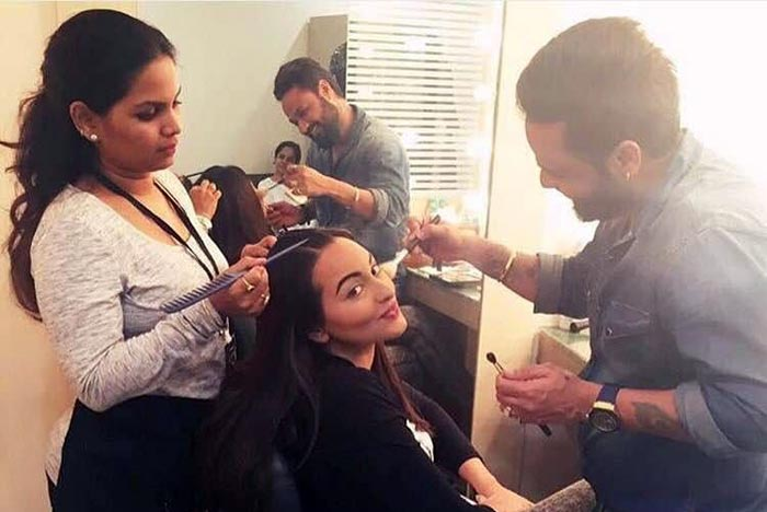 Make-up artists with actress Sonakshi Sinha
