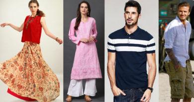 Models wearing long skirt with short kurti, salwar kameez, polo shirt and David Beckham wearing cargo shorts and white shirt