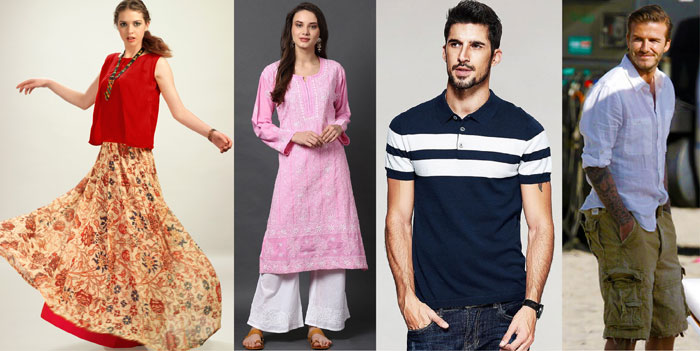 Models wearing long skirt with short kurti, salwar kameez, polo shirt and David Beckham wearing cargo shorts and white shirt