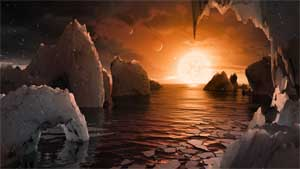 Illustration of the surface of a trappist planet