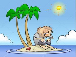 Cartoon of a man marooned on an island