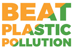 The words Beat Plastic Pollution in colours of Indian flag