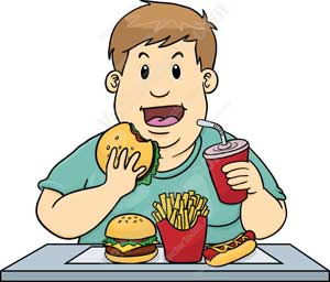 Cartoon of boy overeating junk food