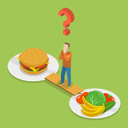 Illustration of a man trying to decide between fast food and healthy food