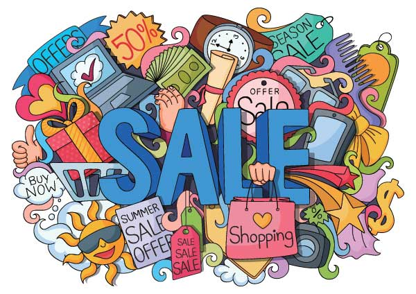 Sale sign surrounded by shopping doodle