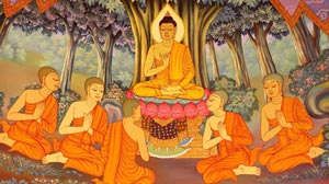 Gautam Buddha preaching to his disciples