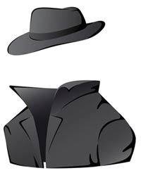 Cartoon illustration of an invisible man wearing a coat and hat
