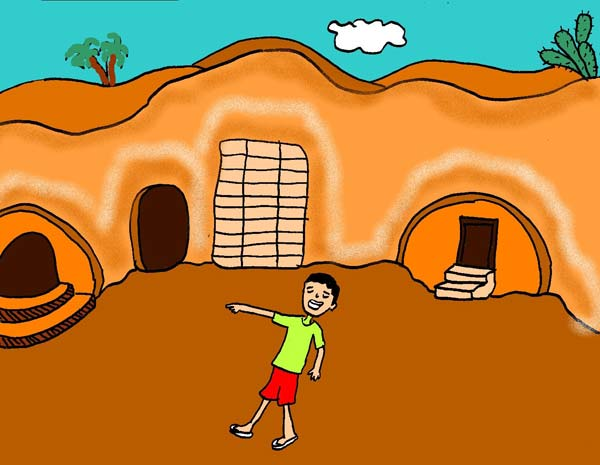 Illustration of homes in Matmata, Tunisia