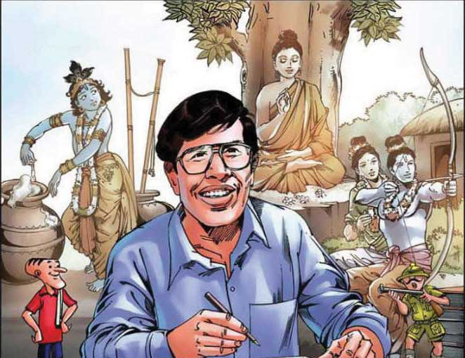 Illustration of Anant Pai and characters from Amar Chitra Katha
