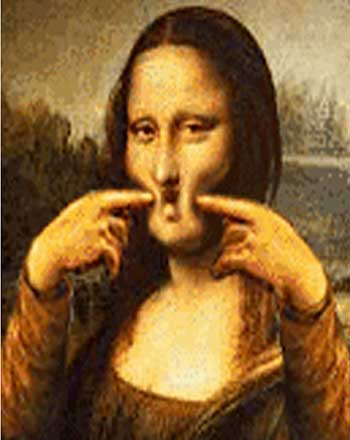 Cartoon of Mona Lisa painting