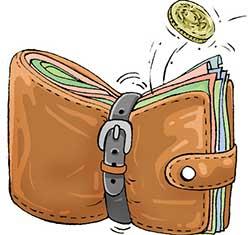 Wallet full of notes tied shut