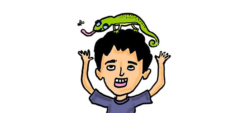 Cartoon illustration of a boy with a reptile pet on his head