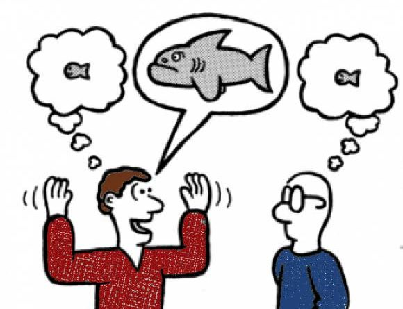Cartoon of man exaggerating while telling his friend about a fish he caught