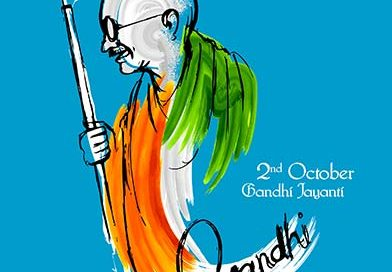 Illustration of Mahatma Gandhi with colours of Indian flag