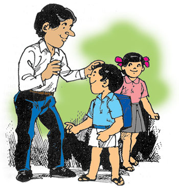 Illustration of male teacher with a male and female student