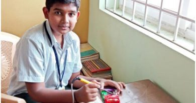 Sharan Karthik, student of Sri National School, Gobichettipalayam