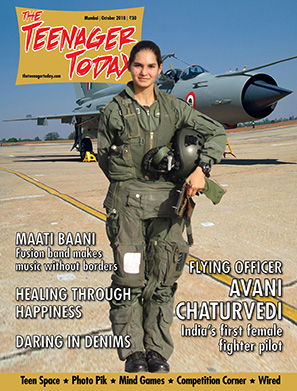 Cover of the October 2018 issue of The Teenager Today featuring Flying Officer Avani Chaturvedi, India's first female fighter pilot