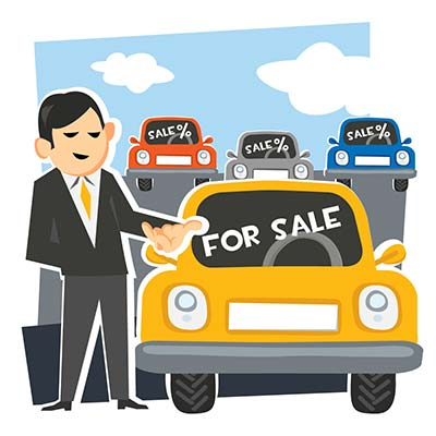 Cartoon illustration of a car salesman with cars