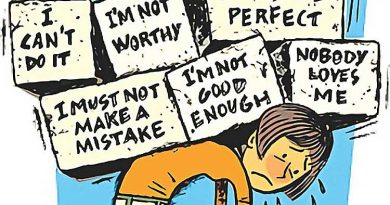 Cartoon illustration of a girl burdened by negative thoughts