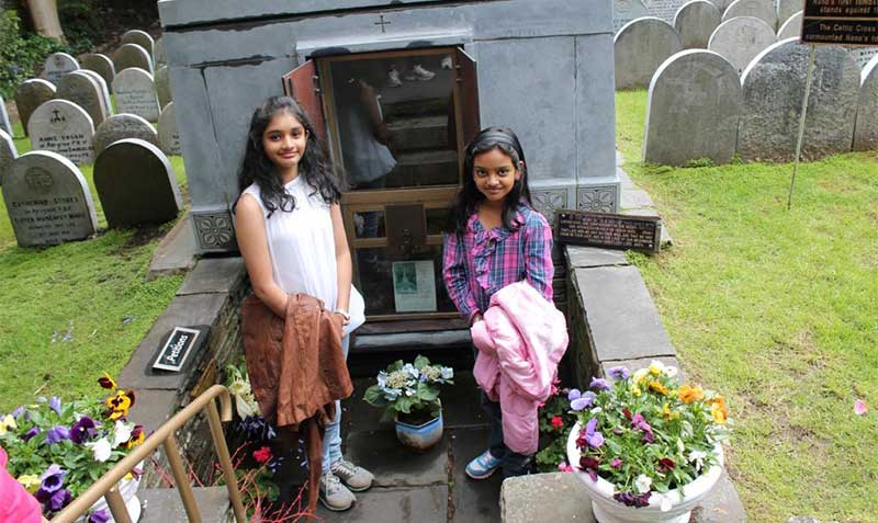 Vyshnavi with her cousin at Nano Nagle's grave