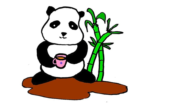 Illustration of panda holding a cup of tea