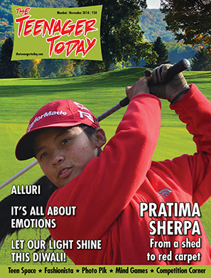 Cover of the November 2018 issue of The Teenager Today featuring Pratima Sherpa, Nepalese teen golfer
