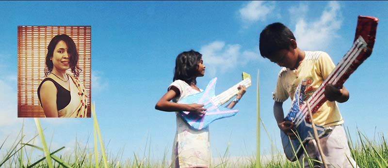 Rima Das (inset) and a scene from the film Village Rockstars
