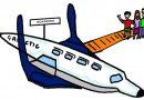 Cartoon illustration of a Virgin Galactic space ship