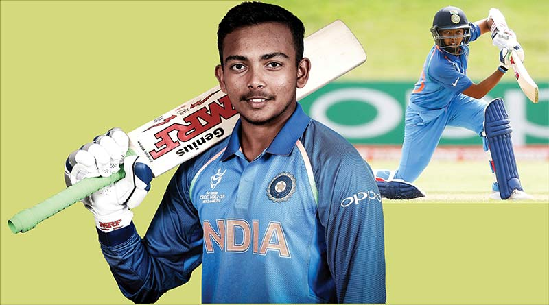 Indian cricketer Prithvi Shaw in India team jersey