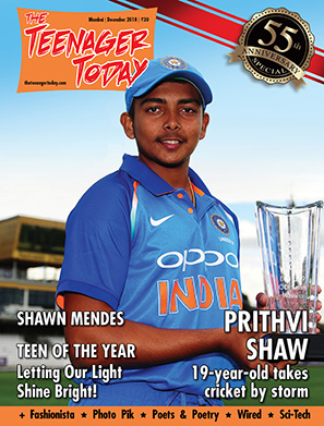 Cover of the December 2018 issue featuring Prithvi Shaw, 19-year-old Indian cricketer