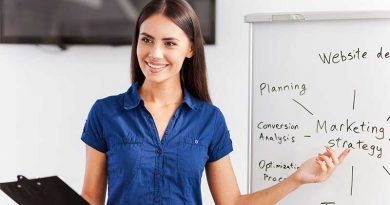 Young female image consultant pointing at strategy on whiteboard behind her