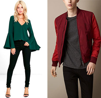 Young woman wearing bell-sleeved top with jeans and young man wearing red bomber jacket with jeans and tee shirt