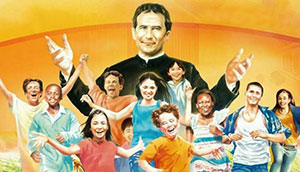 Illustration of Don Bosco with children