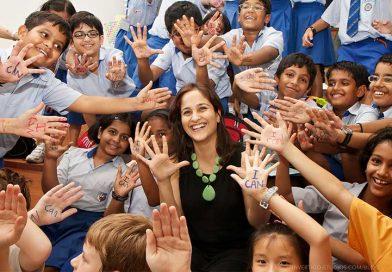 Kiran Bir Sethi with a group of schoolchildren