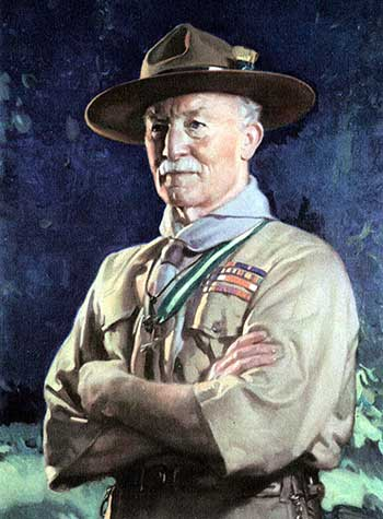 Painting of Lord Baden Powell in a scout uniform