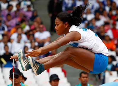 Swapna Barman in the heptathlon