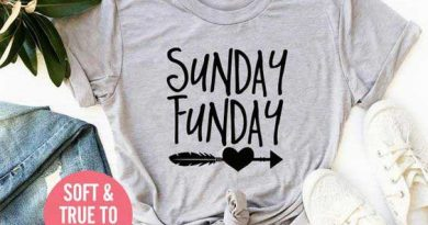Grey t-shirt with the words 'Sunday Funday' painted on to it