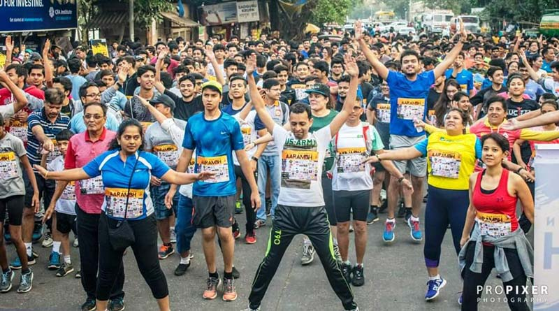 Participants warming up for Aarambh marathon